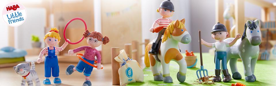 Haba 303131 Little Friends Traktor mit Anhänger Puppe Kleinkindspielzeug